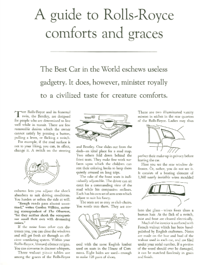 A 1960 David Ogilvy Rolls Royce print Ad with White Space Design