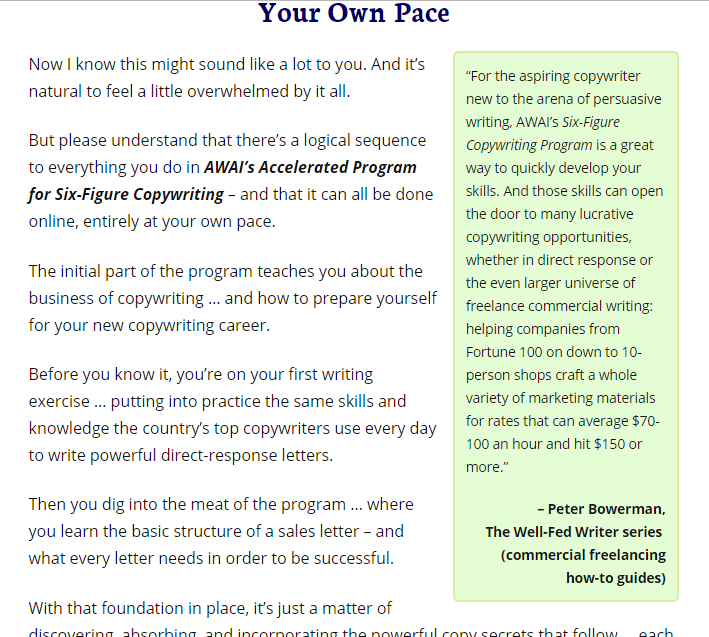 a copywriting course sales letter example of authoritative approval testimonial