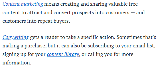 A screenshot of a copyblogger post detailing the difference between copywriting and content marketing