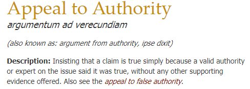 a screenshot of a definition of appeal to authority logical fallacy
