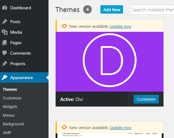 A screenshot of how to add a new theme on WordPress dashboard