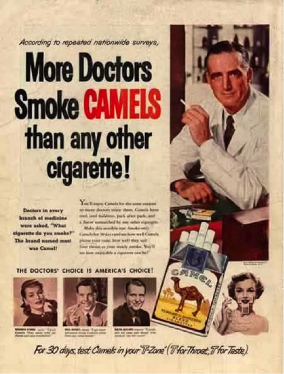 an old newspaper ad for smoking showing scientific proof by doctor recommendation